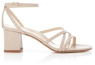 Marion Parke Bianca Beige | Strappy Leather Block Heel Ankle Tie Sandal