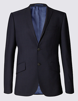 M&s Collection Luxury Big & Tall Navy Slim Fit Wool Jacket