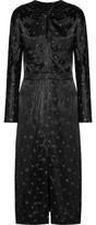 Nina Ricci Knotted Floral-Print Satin Midi Dress