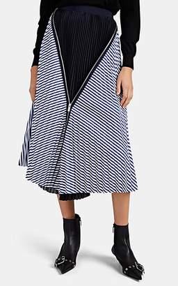 Sacai Women's Plissé-Inset Pleated Striped Cotton Skirt - Navy
