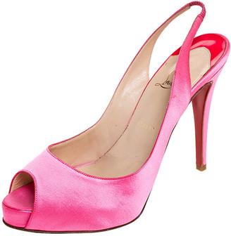 Christian Louboutin Pink Satin Peep Toe Slingback Platform Sandals Size 41