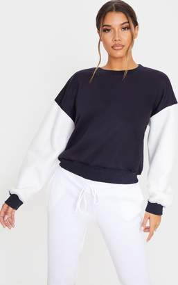 PrettyLittleThing Navy Contrast Sleeve Oversized Sweater