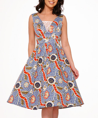HEARTS & ROSES LONDON Women's Casual Dresses Sunday - Blue & Orange Floral Fit & Flare Dress - Women
