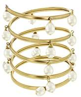 Ela Stone Gilda White Pearl Drops XL Brass Cuff of Length 18 cm