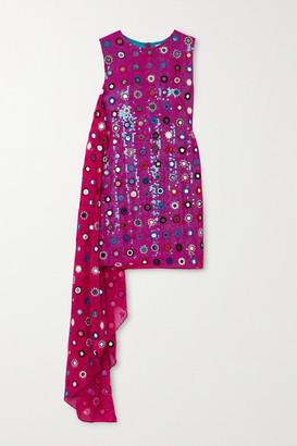 Ashish Sheesha Draped Embellished Sequined Georgette Mini Dress - Pink