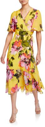 Trina Turk Fragrant Floral-Print Wrap Dress