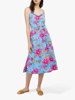 Monsoon Dhana Linen Floral Midi Dress, Blue/Multi