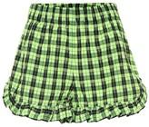 Ganni Checked cotton-blend shorts