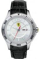 Ferrari Scuderia Silver Dial Black Leather Mens Watch 830092