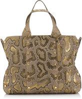 Jimmy Choo LOCKETT SHOPPER Hazel and Gold Metalised Python Tote Bag