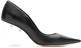 clear Heel Leather Pumps