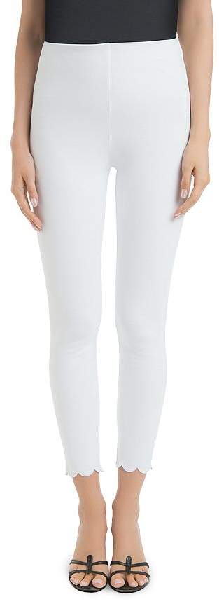 Lysse Denim Scalloped Ankle Leggings in White