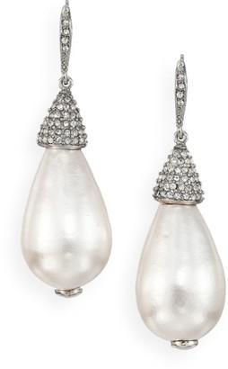 Oscar de la Renta Faux Pearl & Crystal Teardrop Earrings