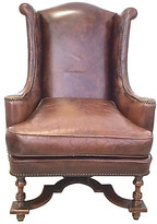 One Kings Lane Vintage Leather & Carved Wingback Chair - Vermilion Designs - brown/antique brass