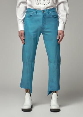 Lanvin Men's Leather Trouser Pants in Turquoise Size 48