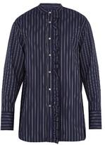 Wooyoungmi Ruffle-trimmed striped cotton shirt