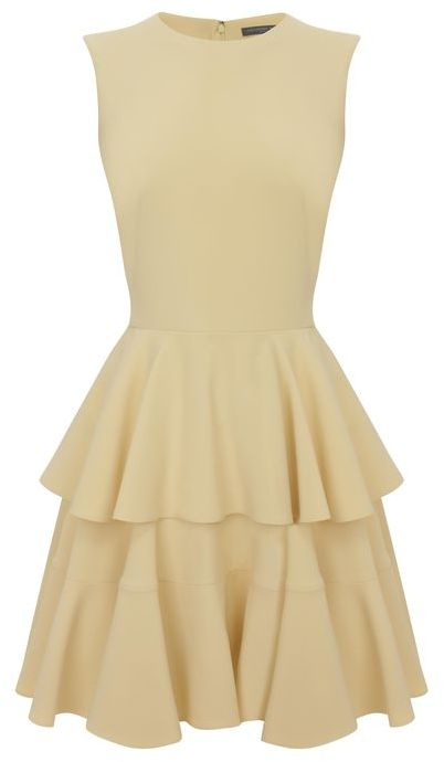 Alexander McQueen Buttercup Crepe Tiered Dress