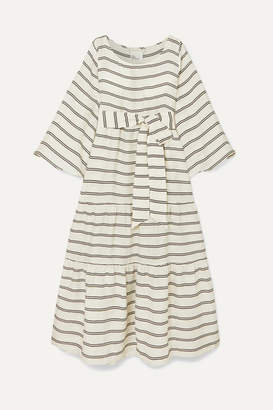 Lisa Marie Fernandez Belted Tiered Striped Voile Maxi Dress - White