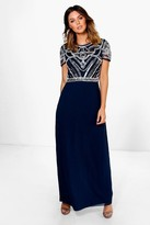 boohoo Boutique Francesca Embellished Top Maxi Dress navy