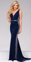 Jovani Jersey V-neck Crystal Embellished Evening Dress