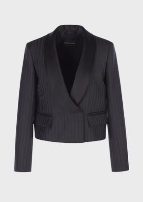 Emporio Armani Light-Wool Pinstriped Jacket With Satin Collar
