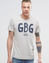 Nudie Jeans O-Neck T-Shirt GBG Print in Gray Melange