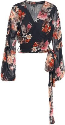 Nicholas Pintucked Floral-print Silk-georgette Wrap Blouse