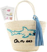 Donalworld Woen Large Flowers Handbags Corn Beach Suer Staw Shoulder Bag