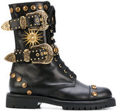 Fausto Puglisi studded boots - women - Leather/Brass/rubber - 36