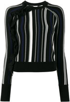 3.1 Phillip Lim knitted ruffle stripe top - women - Cotton/Polyester/Spandex/Elastane/Viscose - XS