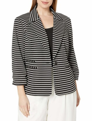 Nine West Women's Plus Size 1 Button Striped Notch Collar Jacket