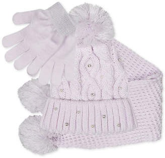Fab Big Girls 3-Pc. Sparkly Knit Hat, Scarf & Gloves Set