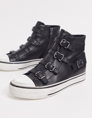 Ash Virgin high top buckled trainers in black
