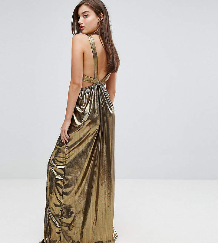 TFNC V Neck Maxi Dress With Pleated Back Panels