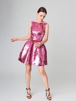 Oscar de la Renta Fish Scale Sequin Embroidered Silk Cocktail Dress