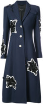 Derek Lam Long Tailored Notch Lapel Coat With Lily Embroidery