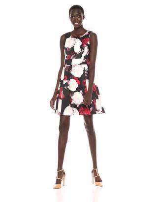 Nine West Women's Sleeveless Jewel Neck Printed Dress