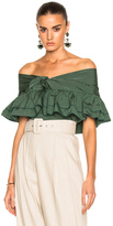 Isa Arfen Ruffle Knot Top with Short Sleeves in Green,Stripes.