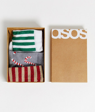 Asos DESIGN Holidays 3 pack glitter candy cane ankle socks in recycled gift box