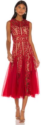 Bronx and Banco Saba Maroon Midi Dress