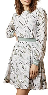 Ted Baker Fleuura Everglade Long-Sleeve Mini Dress