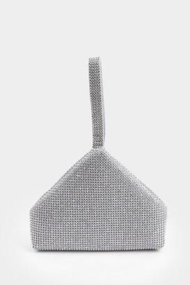 francesca's Bethany Triangular Metal Mesh Clutch - Silver