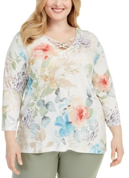 Alfred Dunner Plus Size Chesapeake Bay Printed Strappy-Neck Top