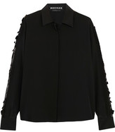 Rochas Embroidered Lace-Trimmed Silk Blouse