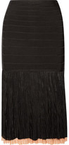 Herve Leger Ribbed-knit And Bandage Skirt - Black