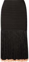 Herve Leger Ribbed-knit And Bandage Skirt - Black