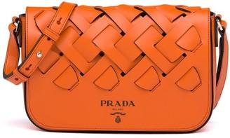 Prada large woven motif leather shoulder bag