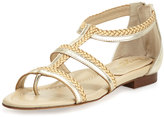 Eric Javits Brody Metallic Caged Sandal, Champagne/Peanut