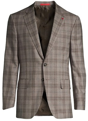 Isaia Delain Plaid Wool Single-Breasted Jacket