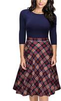 Missmay Women's Vintage Retro Plaid Patchwork A-line Cocktail Party Swing Dress